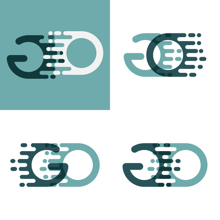 GO letters logo with accent speed in gray and dark green