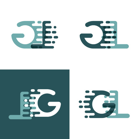 GL letters  with accent speed in gray and dark green