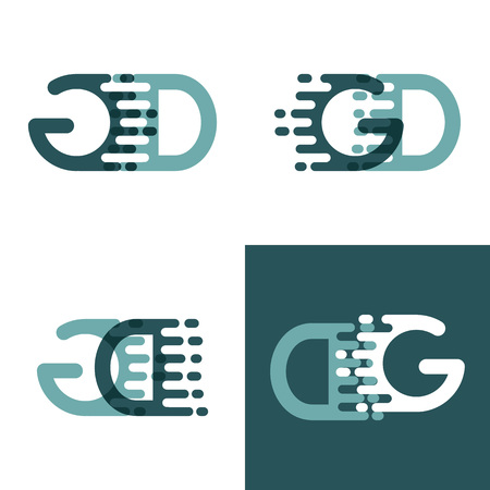 GD letters logo with accent speed in gray and dark green