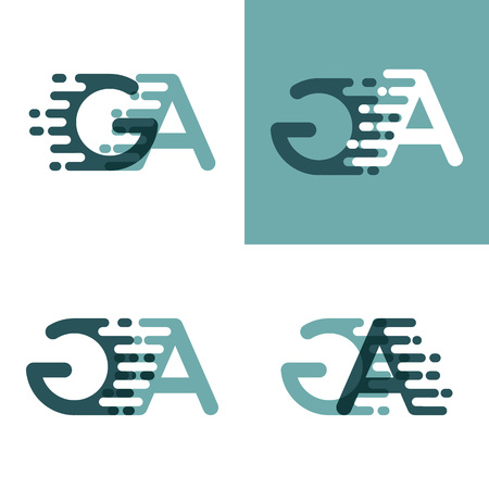 GA letters logo with accent speed in gray and dark green