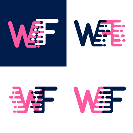 FW letters logo with accent speed in pink and drak purple Ilustrace