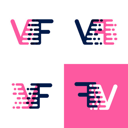 FV letters logo with accent speed in pink and drak purple