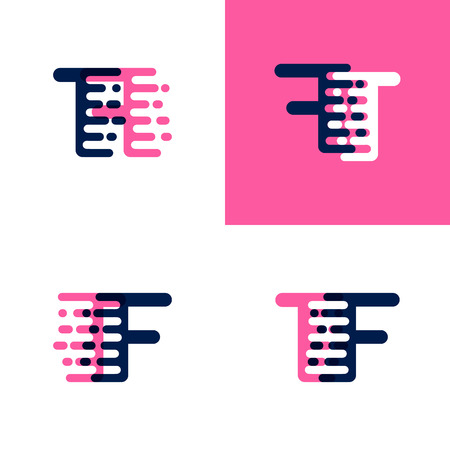 FT letters logo with accent speed in pink and drak purple Ilustrace