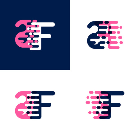 FS letters  with accent speed in pink and drak purple
