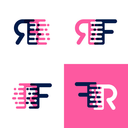 FR letters logo with accent speed in pink and drak purple Ilustrace