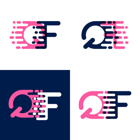FQ letters logo with accent speed in pink and drak purple