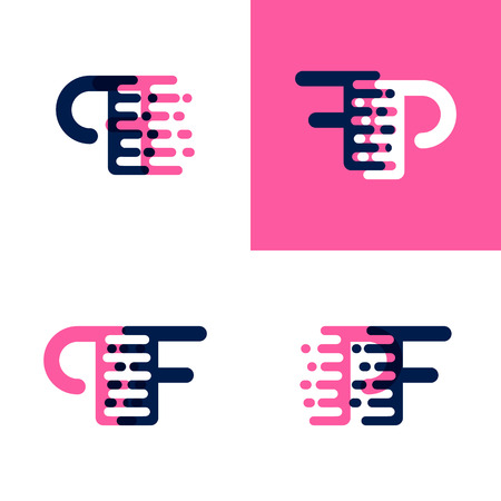 FP letters logo with accent speed in pink and dark purple Vector illustration.