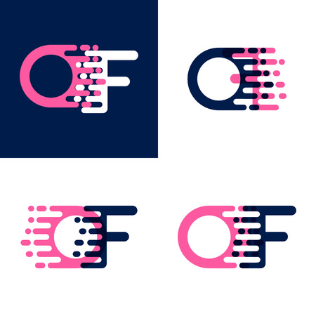 FO letters logo with accent speed in pink and dark purple Vector illustration.