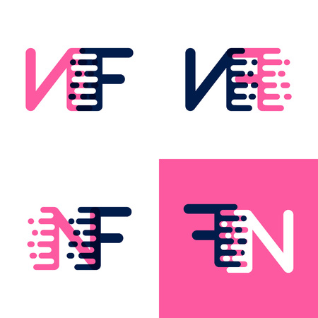 FN letters logo with accent speed in pink and drak purple