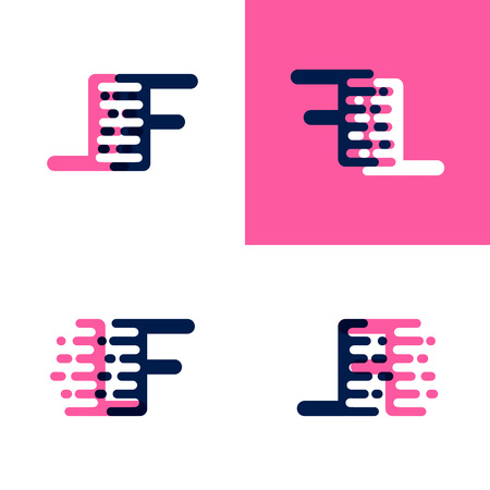 FL letters logo with accent speed in pink and drak purple