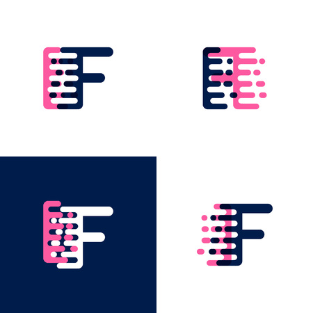 FI letters logo with accent speed in pink and drak purple Ilustrace