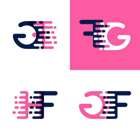 FG letters logo with accent speed in pink and drak purple Ilustrace