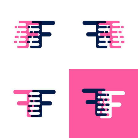 FF letters logo with accent speed in pink and drak purple Ilustrace