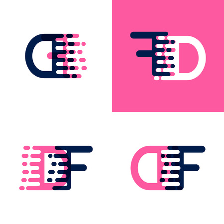 FD letters logo with accent speed in pink and drak purple