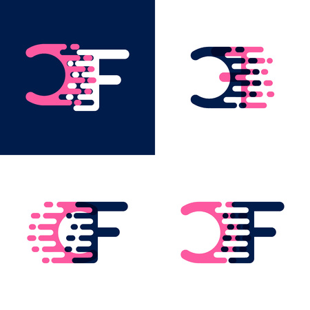 FC letters logo with accent speed in pink and dark purple Vector illustration.