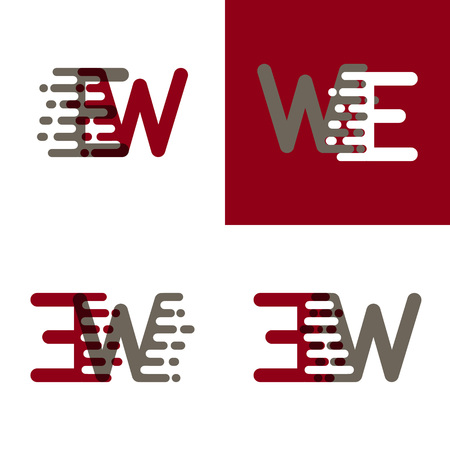 EW letters logo with accent speed in drak red and gray