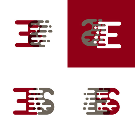 ES letters logo with accent speed in drak red and gray Ilustração