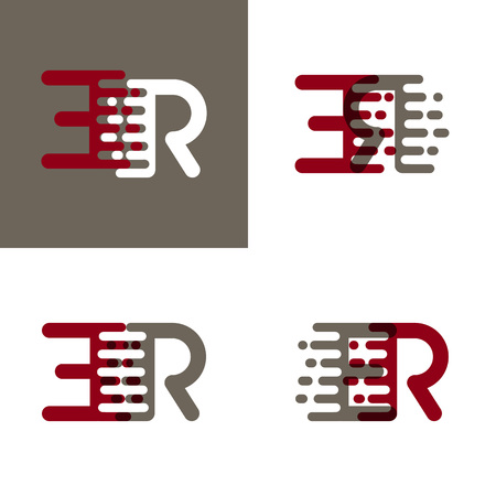 ER letters logo with accent speed in drak red and gray