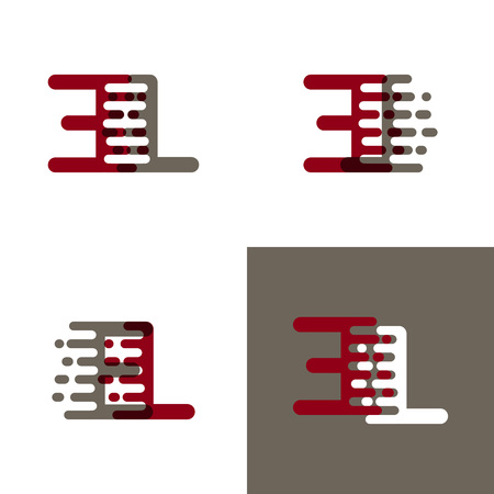 EL letters logo with accent speed in drak red and gray