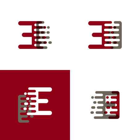 EI letters logo with accent speed in dark red and gray Vector illustration.