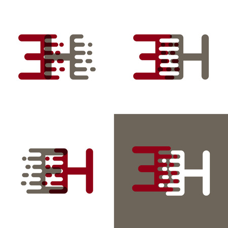 EH letters logo with accent speed in dark red and gray Vector illustration. Ilustrace