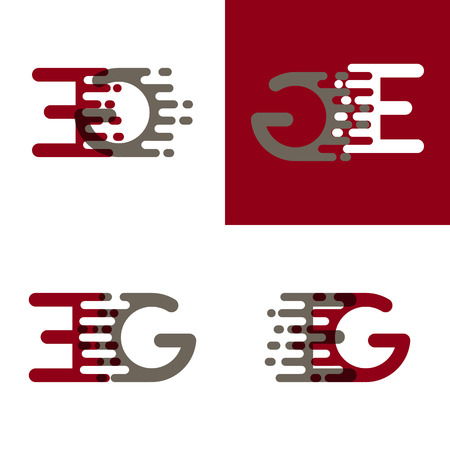 EG letters logo with accent speed in drak red and gray Ilustrace