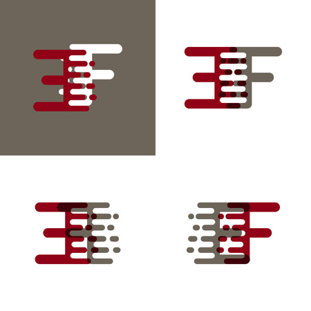 EF letters logo with accent speed in drak red and gray