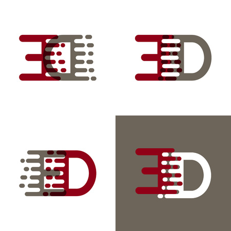 ED letters logo with accent speed in dark red and gray Vector illustration. Ilustrace