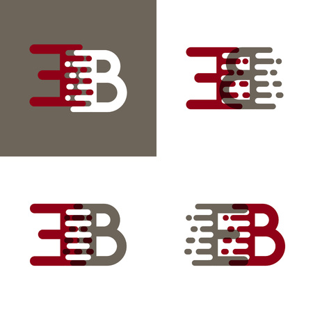 EB letters logo with accent speed in dark red and gray Vector illustration.
