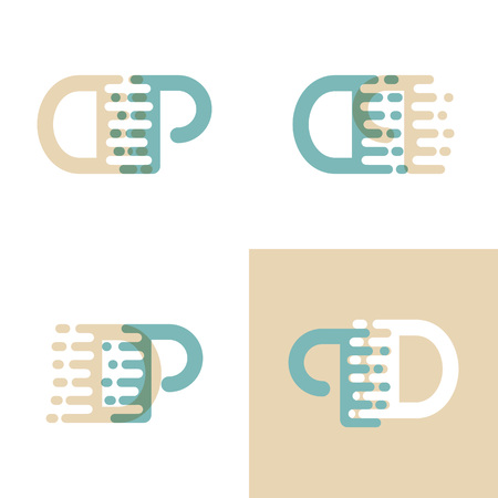 DP letters logo with accent speed in cream and pastel green Vector illustration. Logo