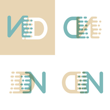 DN letters logo with accent speed in cream and pastel green