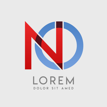 NO logo letters with blue and red gradation
