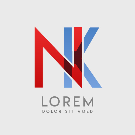 NK logo letters with blue and red gradation