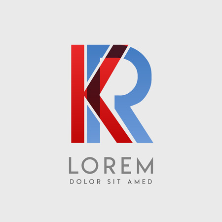 """KR logo letters with """"blue and red"""" gradation"""