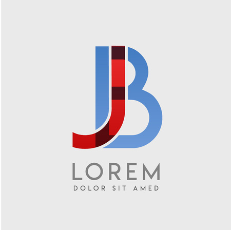 """JB logo letters with """"blue and red"""" gradation"""