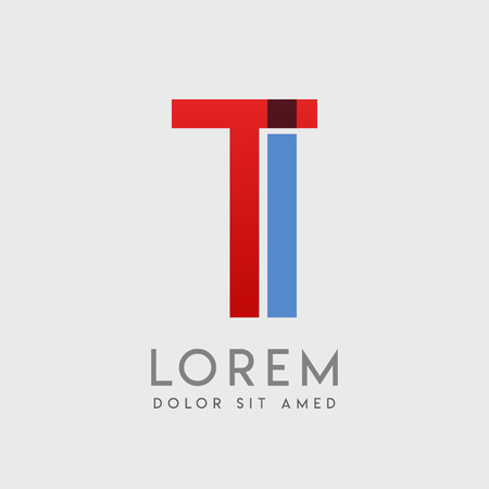TI logo letters with blue and red gradation Illustration
