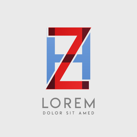 ZH logo letters with blue and red gradation