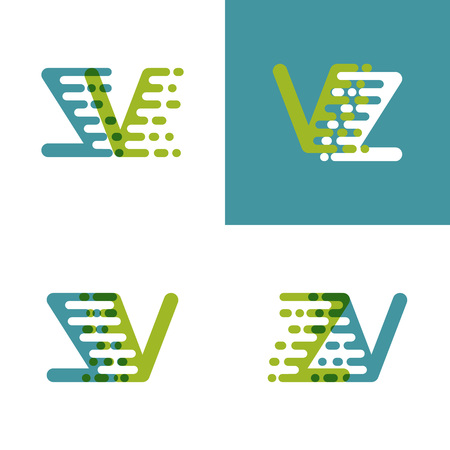 ZV letters logo with accent speed green and blue Ilustrace