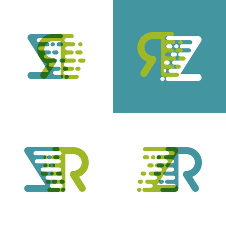 ZR letters logo with accent speed green and blue