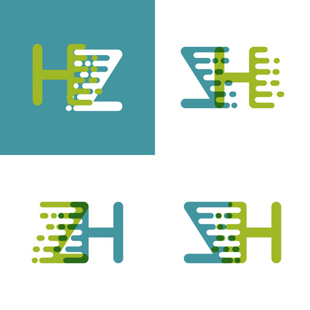 ZH letters logo with accent speed green and blue