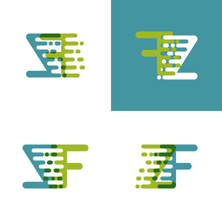ZF letters logo with accent speed green and blue