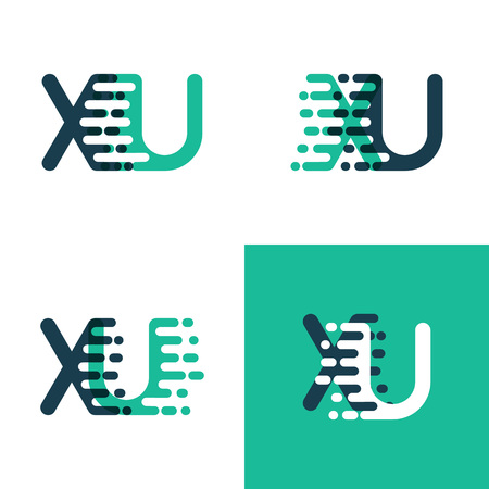 XU letters logo with accent speed green and blue Vettoriali