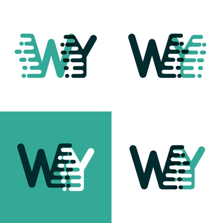 WY letters logo with accent speed green and dark green