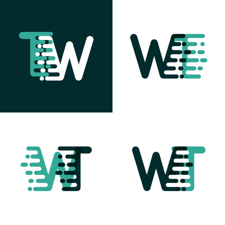 WT letters logo with accent speed green and dark green Vettoriali