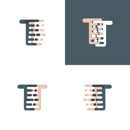 TT letters logo with accent speed pink and gray Vector illustration. Logo
