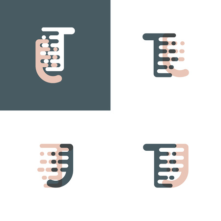 TJ letters logo with accent speed pink and gray Vector illustration.