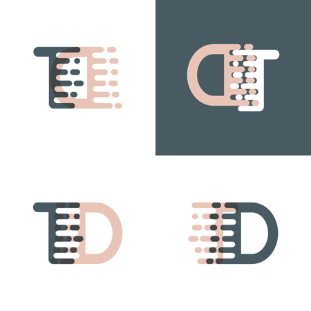 TD letters logo with accent speed pink and gray Vector illustration. Vettoriali