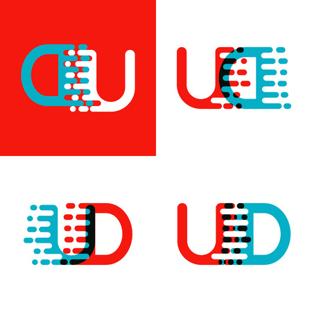 UD letters logo with accent speed red and blue Vettoriali