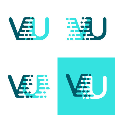 VU letters logo with accent speed green and blue Ilustração