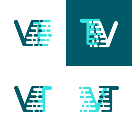 VT letters logo with accent speed green and blue